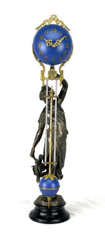 Beautiful Ansonia Cut 8 Day Movement Brass Huntress Lady Mystery Swinging Clock