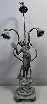 LG Antique FRENCH ART NOUVEAU NEWEL POST Style LADY STATUE Old FIGURAL LAMP