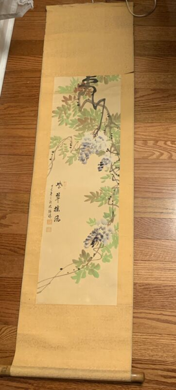 Antique Chinese Watercolor Painting Scroll On Silk