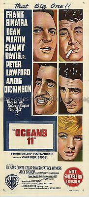 Ocean's 11 Original Australian 1960 Hand Litho Daybill Movie Poster Rat Pack
