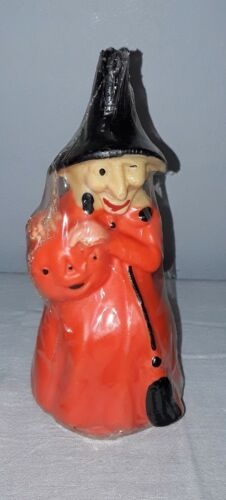 VINTAGE GURLEY HALLOWEEN WITCH CANDLE 8 INCH SEALED NOS