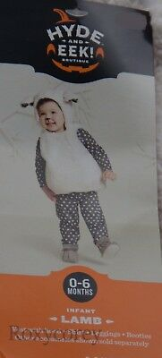Infant Lamb Costume (Halloween Infant Lamb Costume Vest w/hood Shirt Leggings Booties Size 0-6)