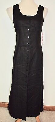 New Real Comfort Chadwicks Linen Dress Black Button Sleeveless Side Slit Maxi -