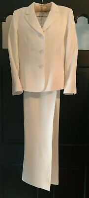 Le Suit Petite 12P Classic White 2Pc Career or Occasion Pant Suit GORGEOUS!