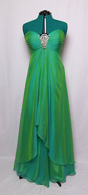 CUSTOM TEAL GREEN STRAPLESS IRIDESCENT CHIFFON PROM FORMAL GOWN DRESS 14 ()