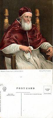 1940's PORTRAIT OF POPE JULIUS II UNUSED COLOUR POSTCARD
