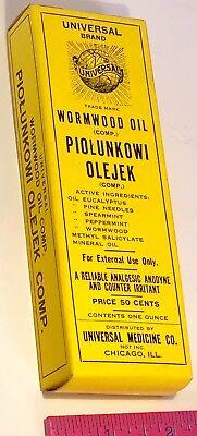 VINTAGE WORMWOOD OIL PIOLUNKOWI OLEJEK EMPTY BOX UNIVERSAL MEDICINE ILLINOIS