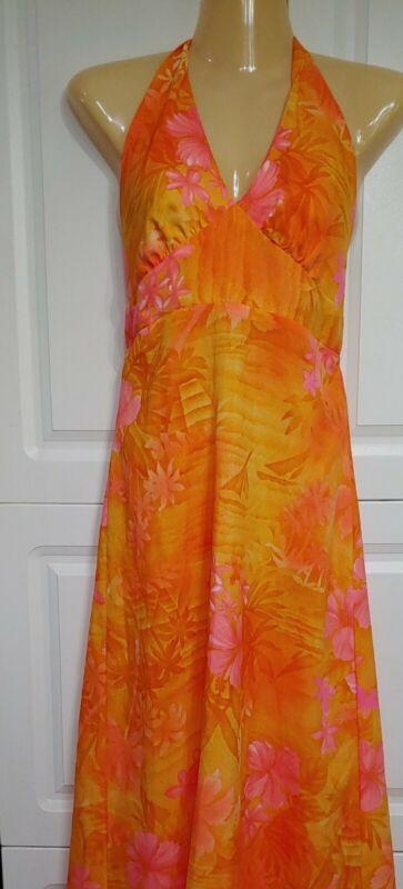 Hawaiian Palm Vintage Halter Dress Neon orange pink Silky Poly Sz 6 small