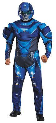 Blau Spartaner Muskel Erwachsene Herren Overall Kostüm Vacuform Helm Disguise ()
