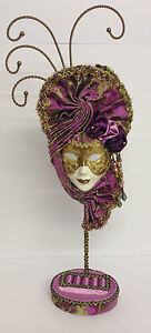 Chintz Pink Masquerade Mask Jewellery Stand with Ring & Earring Tray ~ 14404