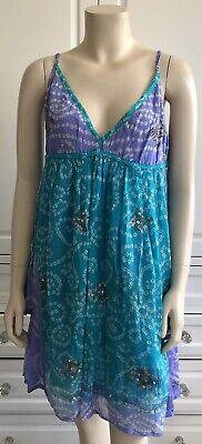 JULIET DUNN multi-col 100% SILK beach festive hippie boho dress - OS / UK10-12
