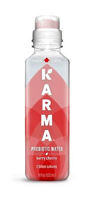 Karma Wellness Flavored Probiotic Water, Berry Cherry, 18 Fl Oz (Pack of 12),...