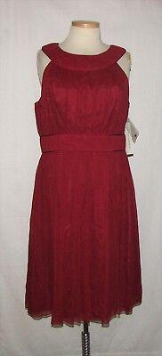 Maggy London Chiffon Dress - Maggy London Garnet Red Crinkle Silk Chiffon Slvless Cocktail Dress Size 16 NWT