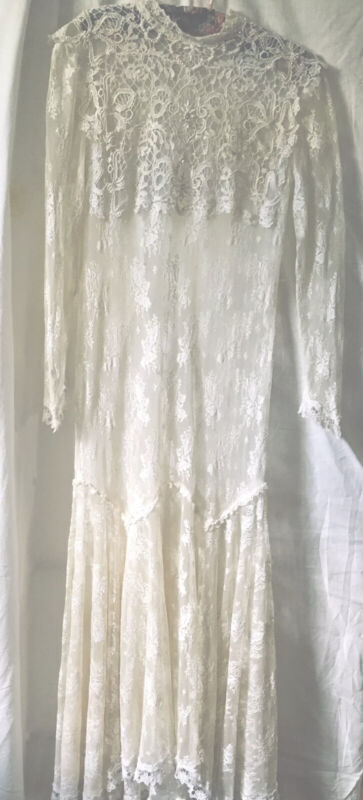 Vintage Cream Ivory Sheer Lace Wedding Gown Pearls Drop Waist