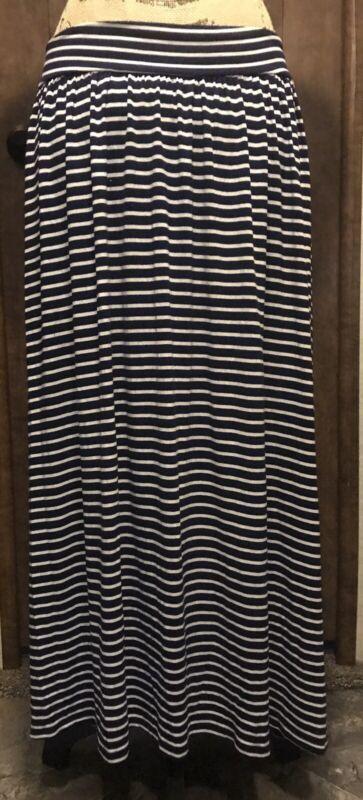 Liz Lange Maternity Size XS Stretch Skirt Navy Blue White Striped Below Knee
