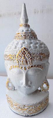 Head of Buddha CM32 wooden INDONESIA Shiva Ganesh divinity sculpture white 1