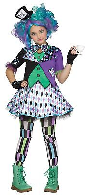 Hatter Gone Mad Girls Costume Alice Wonder's Land Fancy Dress Purple Green MD-XL - Girls Wonderful Alice Costume