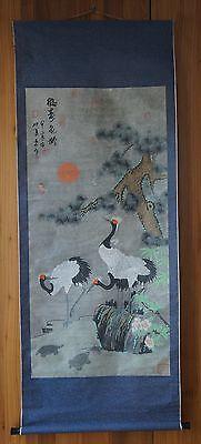 japanisches Rollbild Kraniche  / japanese scroll handpainted crane & turtle
