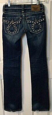 BIG STAR Liv Slim Boot Sz 24 Extra Long Inseam Flaps Bling Fancy Buttons Jeans