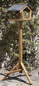 Bretton Bird Table by Tom Chambers - Garden Slate Roof Wild Wood Bird Table
