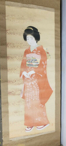 Antique Vintage Japanese Chinese Scroll Painting Lady Geisha Heavy Damage