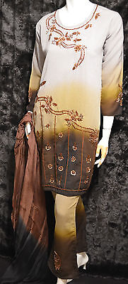 Georgette Bronze Brown Sequin Embellished Pakistani Indian Pants Kameez S