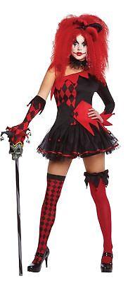 Womens Jesterina Clown Hallowen Costume Fancy Dress Outfit Adult Size 14-16 (Hallowen Outfit)