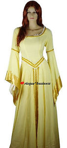 Medieval-Renaissance-Gold-Guinevere-Maid-Fancy-Dress-Gown-Costume-10-12-14-16-18