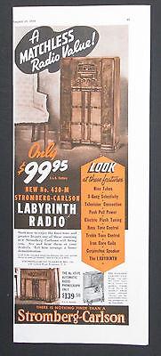 Stromberg Carlson Labyrinth Radio Original 1939 Vintage 1/2 Page Print Ad
