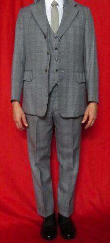 Vintage 1950s 3-Piece Glen Plaid Suite Light Gray & Blue Wool Mix Korean War 36R