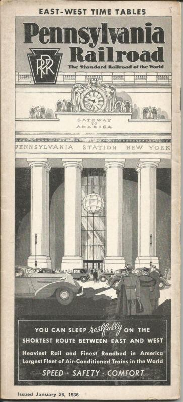 Vintage 1936 Pennsylvania Railroad Public Timetable