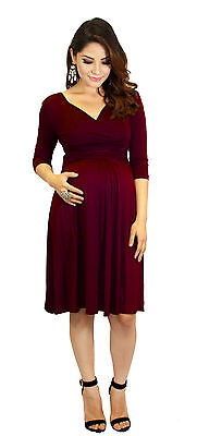 Burgundy Maternity Dress Womens Fashionable Wear Pregnancy Clothes Long Sleeve -