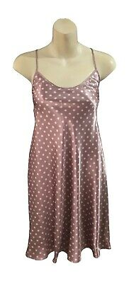 Ladies Mocha Pink Polka Dot Pink Satin Silky Chemise Nightdress Nightshirt - Pink Satin Ladies