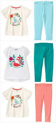 NWT Crazy 8 Bird Short Sleeve Tunic Shirt Lace Trim Leggings Girls Outfit](Crazy Bird)
