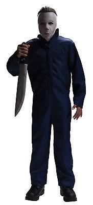 Kids Michael Myers Costume Blue Mechanics Jumpsuit & Mask Child Size Lg 12-14 - Michael Myers Costume Child