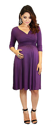 Purple  Maternity Dress Womens Fashionable Wear Pregnancy Clothes Long Sleeve -