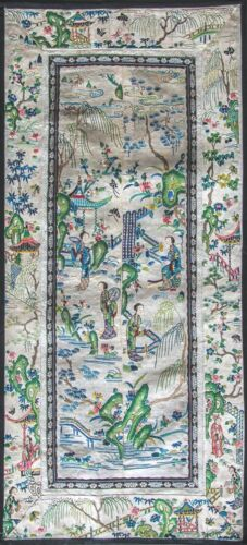 ANTIQUE EMBROIDERED CHINESE SLEEVE BANDS QING DYNASTY #2249