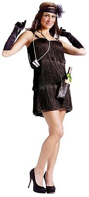 Black Flapper Costume s/m 2-8 Fancy Dress Fringe Pearl Necklace Shot Glasses
