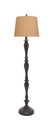 GwG Outlet Wood Floor Lamp with A Dark Brown Finish and Beige Shade (Dark Brown Wood Shade)