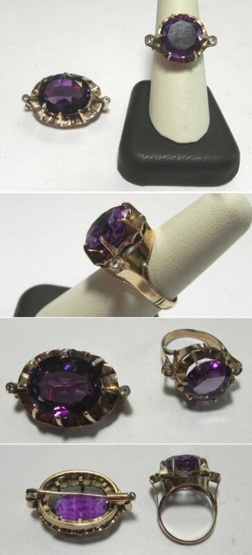 C1151 Vintage Handmade 14K Solid Yellow Gold Large Sapphire Ring & Brooch Set