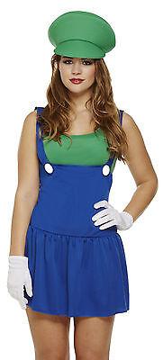 Ladies Luigi Mario Fancy Dress Costume Outfit Girls Workman Plumber Size - Luigi Girl Kostüm