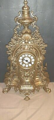 Vintage Italian Rococo Brass Imperial Mantle Clock With German Franz Hermle...