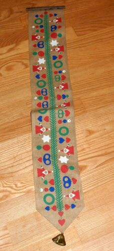 """Swedish Vintage Christmas Jute Wall Hanging with bell 38x5.5"""" Hearts Tomte"""
