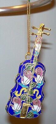 Enameled Porcelain Southwestern Mexican Style Baroque Cello Christmas -
