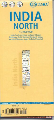 Map of India, North, by Borch (Folded & Laminated)