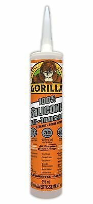 Gorilla Clear 100 Percent Silicone Sealant Caulk, Waterproof and Mold & Milde...
