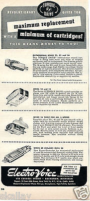 1950 Print Ad of Electro Voice EV Replacement Record Cartridges