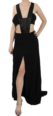 JOHN RICHMOND Dress Black Crystal Leather Gown Flare IT42 / US8 / M RRP $3600