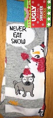 New UGLY CHRISTMAS SWEATER Mens Socks With Snowman/Dogs Says 'NEVER EAT SNOW'