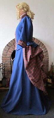 LADIES VICTORIAN / STEAMPUNK COSTUME BUSTLE SKIRT DRESS GOTH ( BLUE / TARTAN (Bustle Skirt Kostüm)